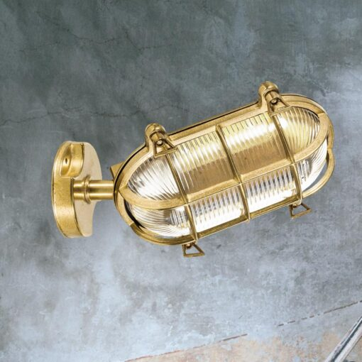 Natural Brass Angled Oval Bulkhead Light
