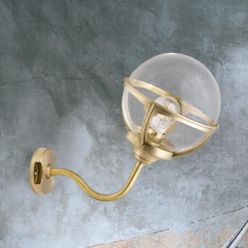 Natural Brass Exterior Globe Sconce Lantern