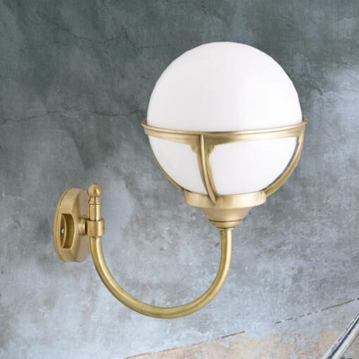 Natural Brass Exterior Globe Wall Lantern