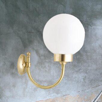 Natural Brass Exterior Opal Globe Wall Light