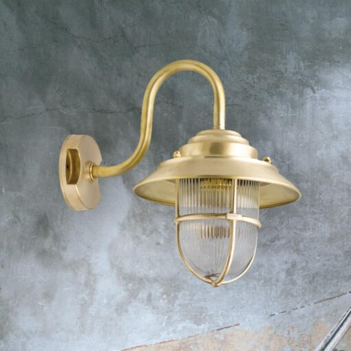 Natural Brass Exterior Swan Neck Wall Lantern