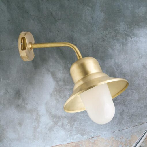 Natural Brass Frosted Outdoor Wall Light
