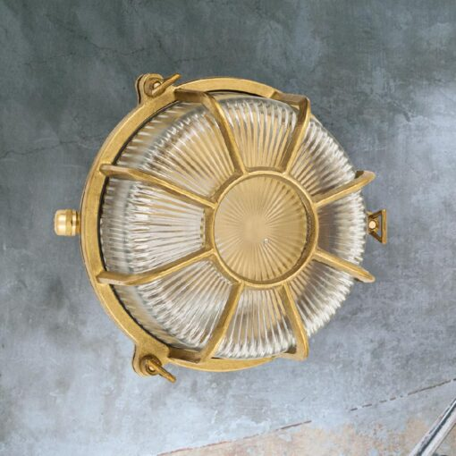 Natural Brass Marine Round Bulkhead Light