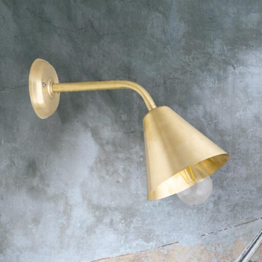 Natural Brass Minimal Industrial Wall Light