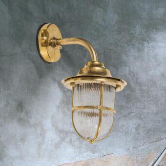 Natural Brass Nautical Cage Wall Lantern