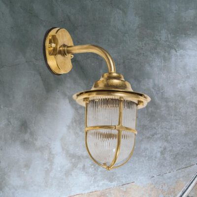 Natural Brass Nautical Cage Wall Lantern