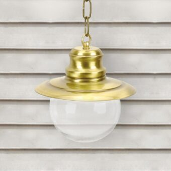 Natural Brass Nautical Clear Globe Lantern Pendant Light