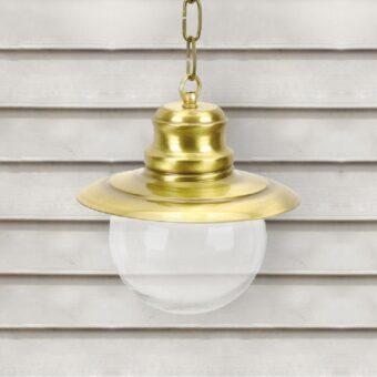 Natural Brass Nautical Clear Globe Lantern Pendant Light