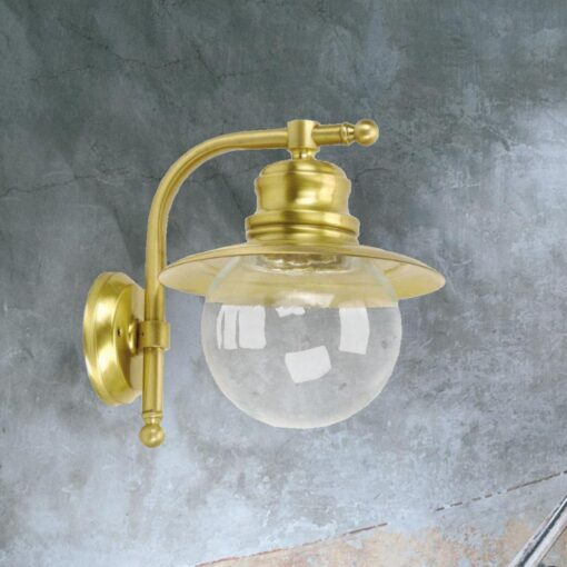 Natural Brass Nautical Globe Wall Lantern