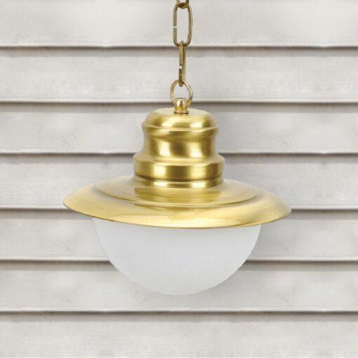 Natural Brass Nautical Opal Globe Lantern Pendant Light
