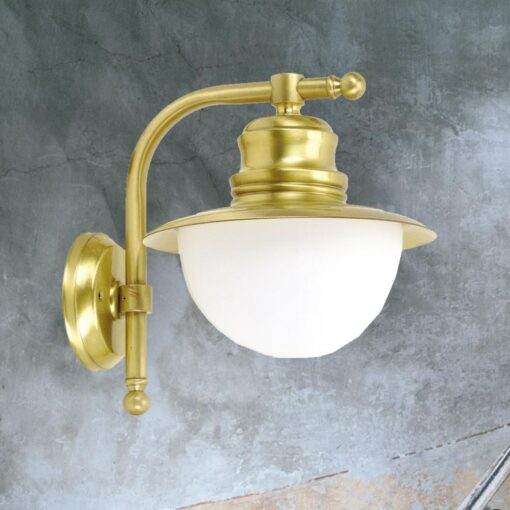 Natural Brass Nautical Opal Globe Wall Lantern