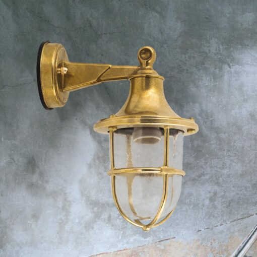 Natural Brass Nautical Outdoor Wall Lantern