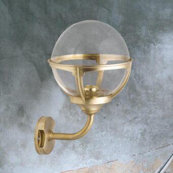 Natural Brass Outdoor Clear Globe Wall Lantern