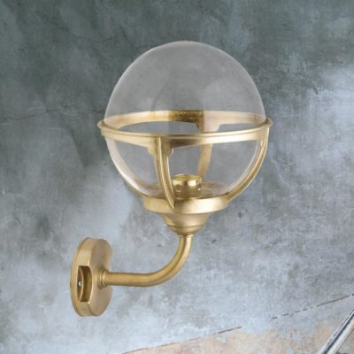 Natural Brass Outdoor Clear Globe Wall Lantern