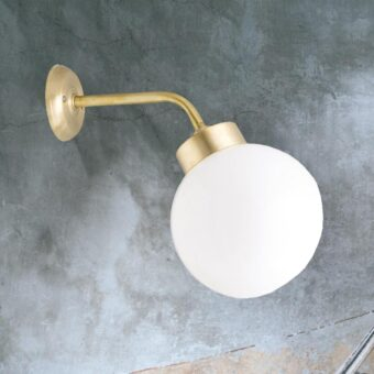 Natural Brass Outdoor Globe Wall Lantern