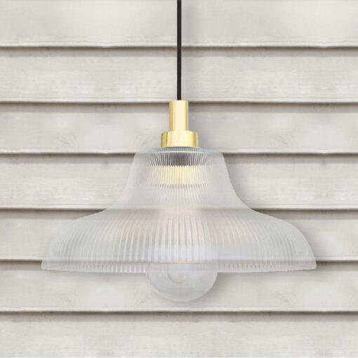 Natural Brass Outdoor Prismatic Pendant Light