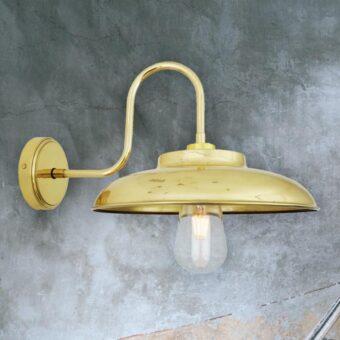 Natural Brass Outdoor Swan Neck Wall Light