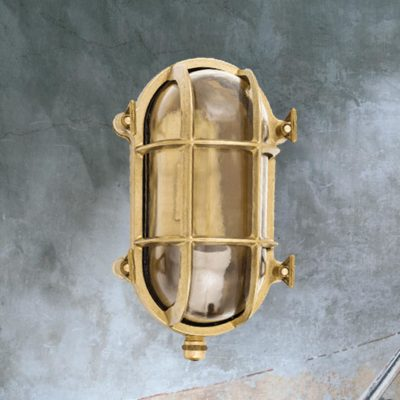 Natural Brass Oval Outdoor Bulkhead Fitting
