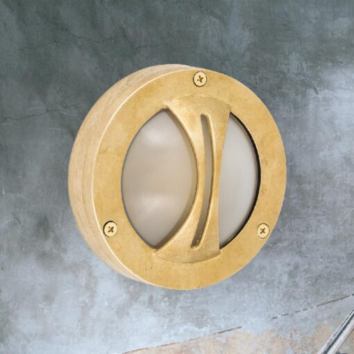 Natural Brass Small Round Frosted Bulkhead