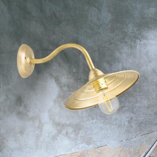 Natural Brass Swan Neck Wall Light