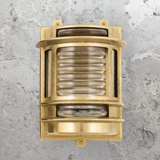 Natural Brass Traditional Lantern Bulkhead Light