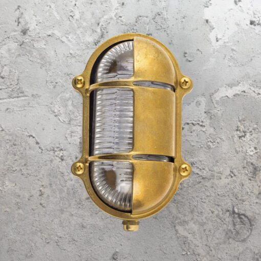Natural Oval Brass Bulkhead Light With Eyelid Shield