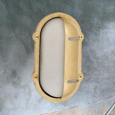 Natural Oval Frosted Brass Bulkhead Eyelid Light