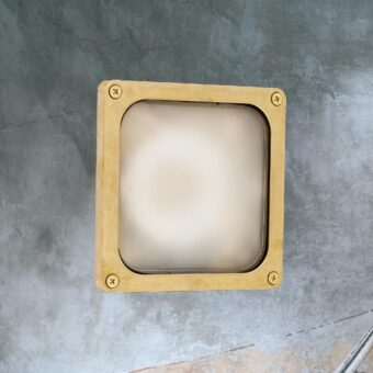 Natural Solid Brass Square Frosted Bulkhead