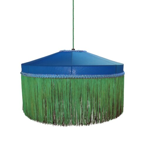 Green Blue Navy Fringe Drum Pendant Light 400mm