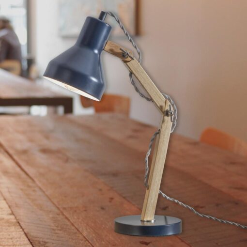 Navy Wooden Desk Lamp