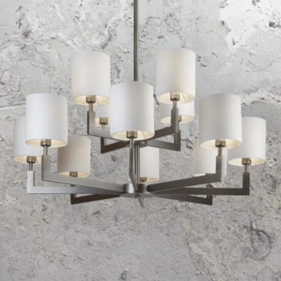 Nickel 12 Light Chandelier with Shades
