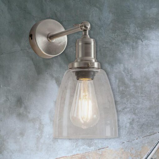 Nickel Bell Glass Wall Light