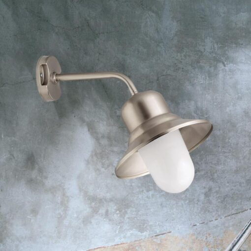 Nickel Brass Frosted Outdoor Wall Light