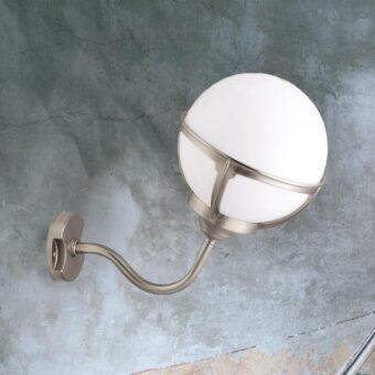 Nickel Exterior Globe Sconce Lantern