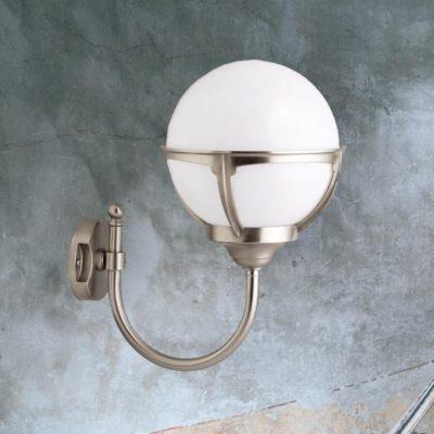 Nickel Exterior Globe Wall Lantern