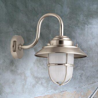 Nickel Exterior Swan Neck Wall Lantern