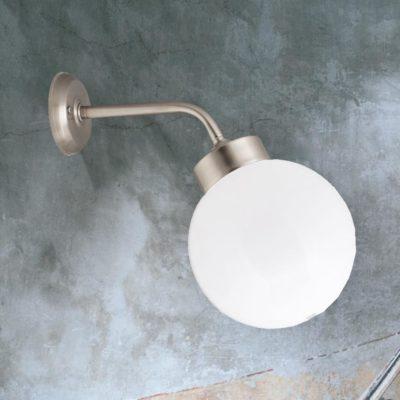 Nickel Outdoor Globe Wall Lantern