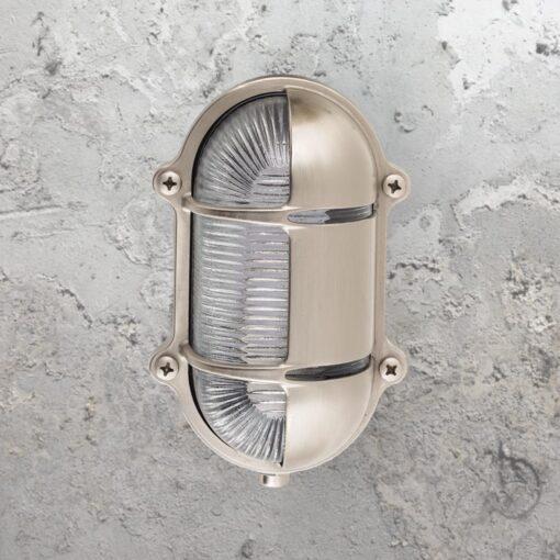 Nickel Oval Brass Bulkhead Light With Eyelid Shield