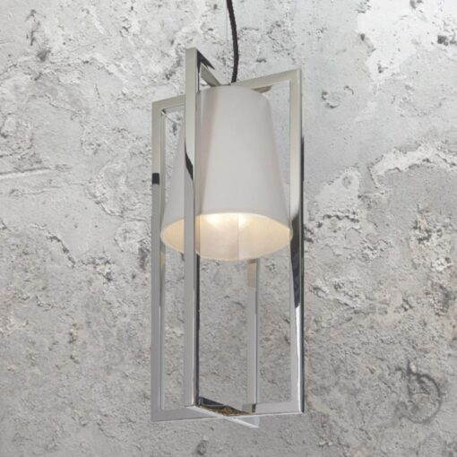 Nickel Pendant with Fabric Shade