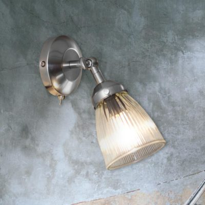 Nickel Ribbed Glass Spotlight