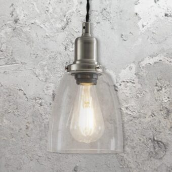 Small Nickel Small Bell Glass Pendant Light