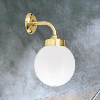 Opal Glass Bathroom Brass Globe Wall Light