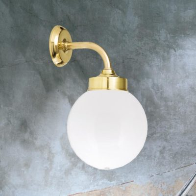 Opal Glass Bathroom Brass Globe Wall Light