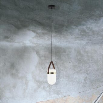 Opal Glass Leather Strap Pendant Light