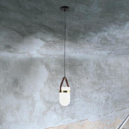 Opal Glass Leather Strap Pendant Light