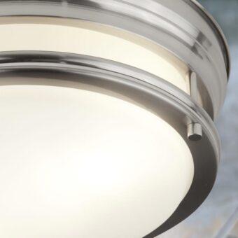 Opal Glass Silver Flush Light