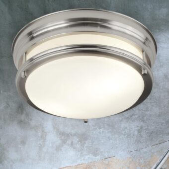 Opal Glass Silver Flush Light