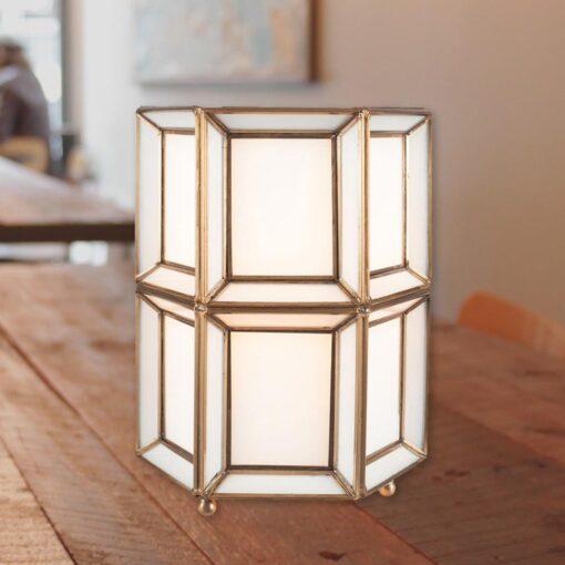Opal Moroccan Geometric Glass Table Lamp