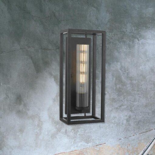 Black Metal Open Box Wall Light