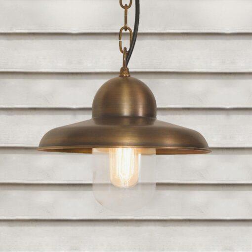 Outdoor Aged Brass Pendant Light